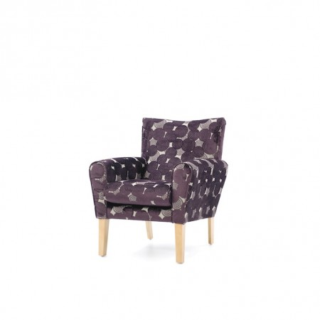 Abbey mid back lounge contract chair - purple fabric