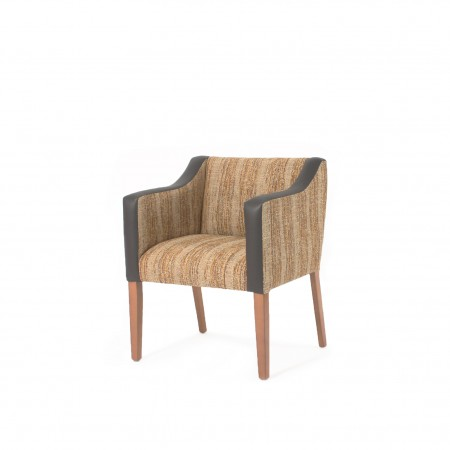 Generous care home and hotel bedroom tub chair in dual fabrics
