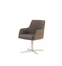 The Madison swivel tub is very compact, ideal as a desk chair, especially for small spaces such as hotel bedrooms - this one is in Sunbury Mayfair and Santos Graphite fabrics