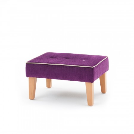 Large buttoned square, taper leg footstool