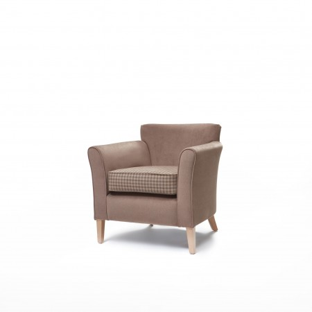 Compact Park Lane low back chair for sophisticated country hotels and care homes, ideal for bedrooms or lounge - here in contrasting brown fabrics