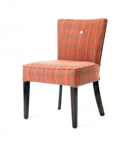 Kenwood compact tub chair without arms, for care home, club or hotel, dining or bedroom setting in checked fabric
