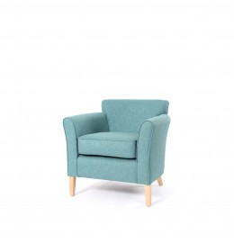 Compact Park Lane low back chair for sophisticated country hotels and care homes, ideal for bedrooms or lounge - here in Agua Cashmir fabric