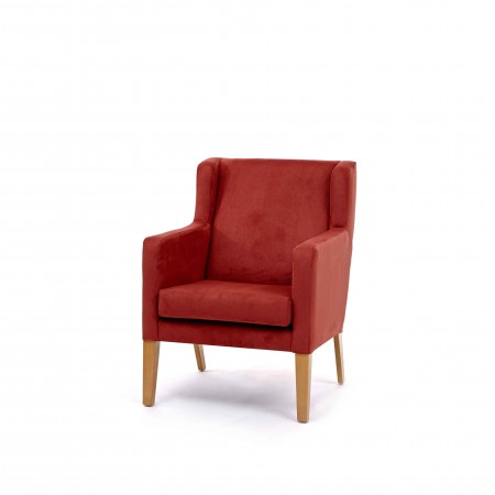 Arran Mid Back Comfortable Wide Lounge Chair For Contract Use In Hotels Or Care Homes - Red Fabric