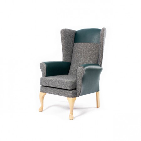 Alexander Queen Anne High Back Chair for care homes - Green with headrest in vinyl
