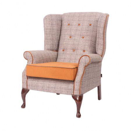 Blenheim Luxury Queen Anne Hotel Chair - Check Fabric with Contrasting Buttons