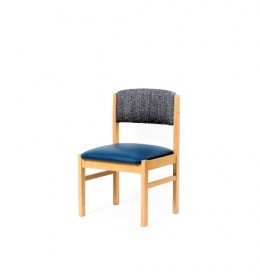 Oakdale care home dining chair covered in waterproof vinyl - dual fabrics