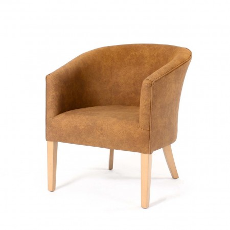 Classic Stratford tub chair for hotels, sports and social clubs, care homes and nursing homes in Agua Alberta Hyde Maple fabric