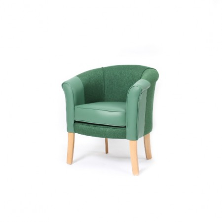 Devon popular care home lounge tub chair in dual fabric - washable wipeable vinyl seat