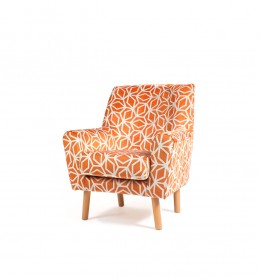 Lundy compact contract lounge chair ideal for clubs, hotels or care homes - in luxury Panaz Corintha orange geometric fabric