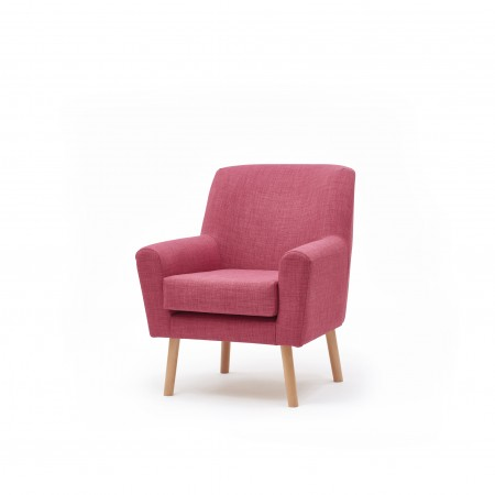 Lundy compact contract lounge chair ideal for clubs, hotels or care homes - in pink fabric