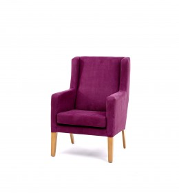 Arran High Back Generous Contract chair for care homes and hotels in purple fabric