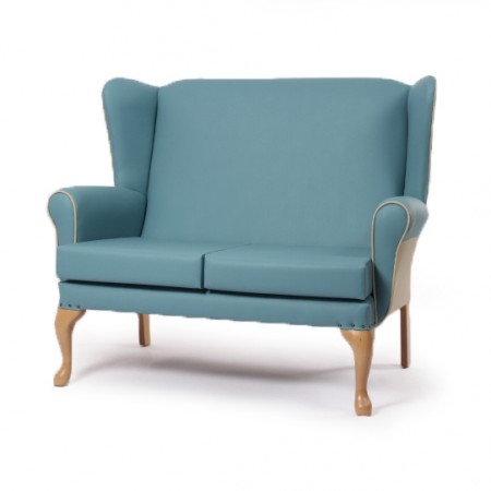 Alexander Queen Anne High Back 2 Seater for care homes - Teal vinyl