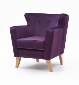 Lismore low back contract lounge chair for hotels or upmarket care homes in purple fabric