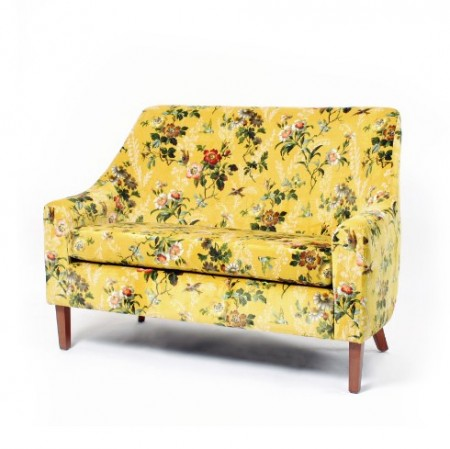 Rona mid back 2 seater contract sofa in floral fabric