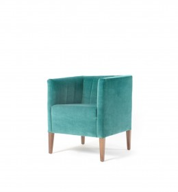 Evesham square fluted hotel tub chair for lounge or reception areas in green velvet