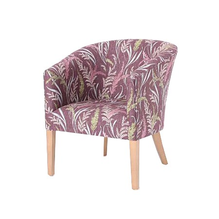 Classic Stratford tub chair for hotels, sports and social clubs, care homes and nursing homes in SMD ILIV Susanna Aubergine fabric