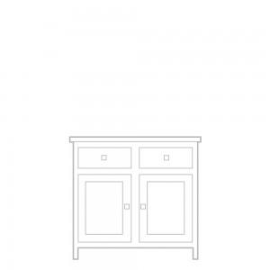 New England Sideboard, 2 door, 2 drawer