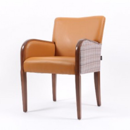 Matera contract tub chair with show wood, ideal dining arm chair - dual fabrics in tan and checked fabric