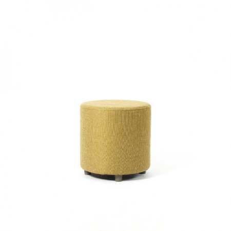Care Home or Hotel Drum Stool for lounge or bedroom in yellow fabric